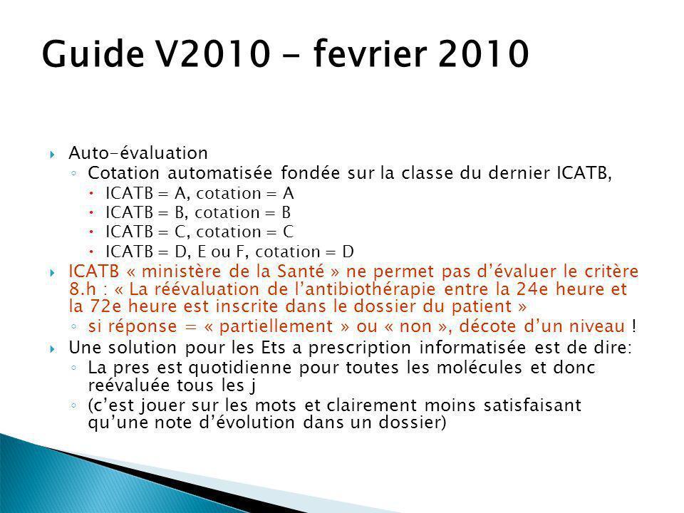 Guide V2010 - fevrier 2010 Auto-évaluation Cotation automatisée fondée sur la classe du dernier ICATB, ICATB = A, cotation = A ICATB = B, cotation = B