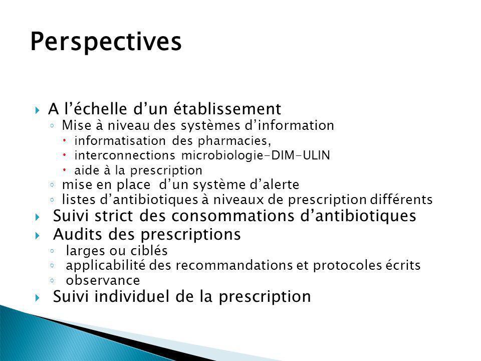 Perspectives A léchelle dun établissement Mise à niveau des systèmes dinformation informatisation des pharmacies, interconnections microbiologie-DIM-U