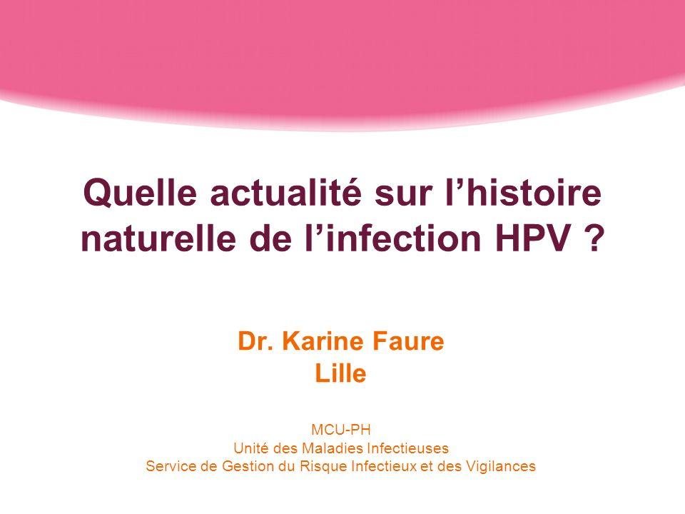 Quelle actualité sur lhistoire naturelle de linfection HPV ? Dr. Karine Faure Lille MCU-PH Unité des Maladies Infectieuses Service de Gestion du Risqu