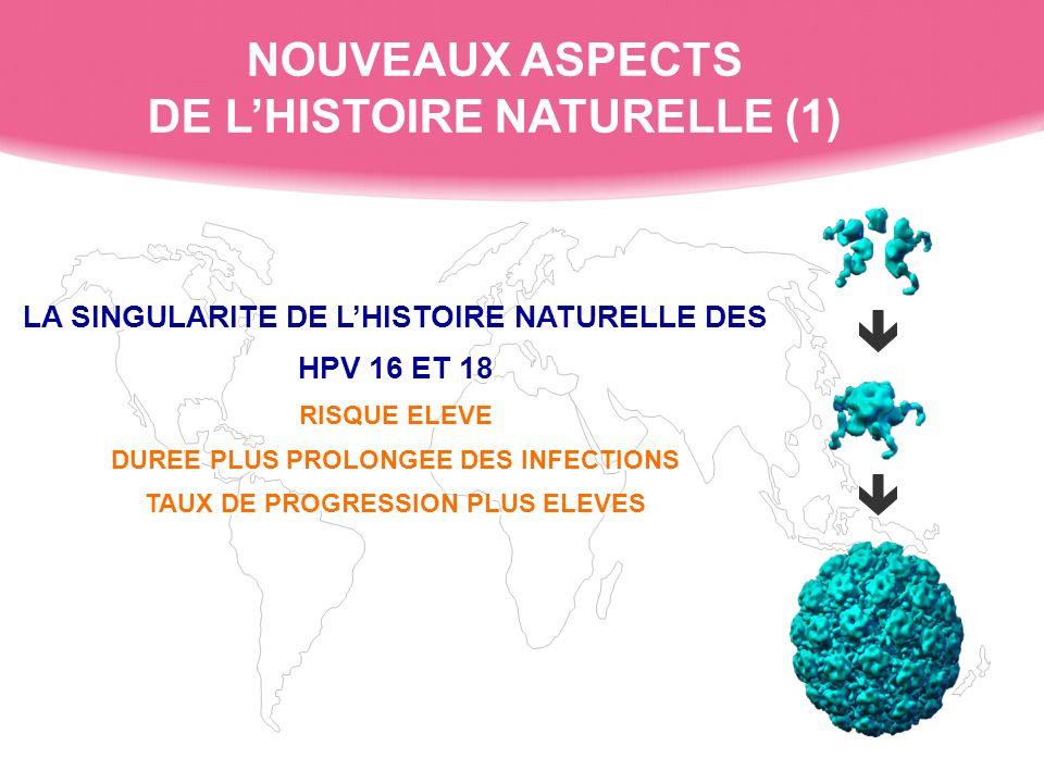 LA SINGULARITE DE LHISTOIRE NATURELLE DES HPV 16 ET 18 RISQUE ELEVE DUREE PLUS PROLONGEE DES INFECTIONS TAUX DE PROGRESSION PLUS ELEVES LA SINGULARITE DE LHISTOIRE NATURELLE DES HPV 16 ET 18 RISQUE ELEVE DUREE PLUS PROLONGEE DES INFECTIONS TAUX DE PROGRESSION PLUS ELEVES NOUVEAUX ASPECTS DE LHISTOIRE NATURELLE (1)