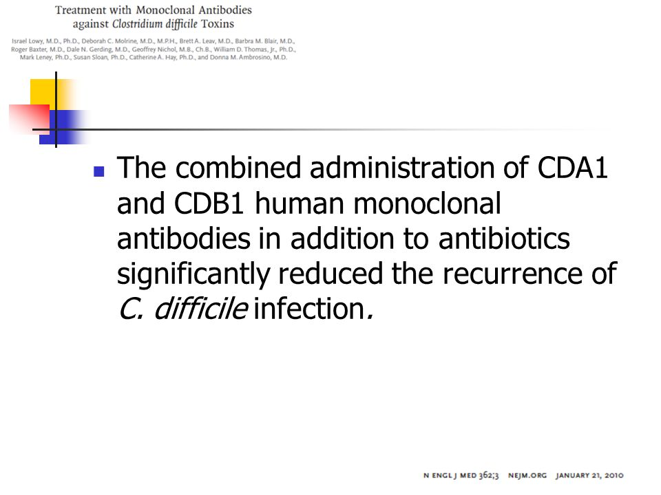 The combined administration of CDA1 and CDB1 human monoclonal antibodies in addition to antibiotics significantly reduced the recurrence of C. diffici