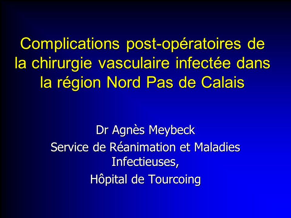 Complications post-opératoires de la chirurgie vasculaire infectée dans la région Nord Pas de Calais Dr Agnès Meybeck Service de Réanimation et Maladi