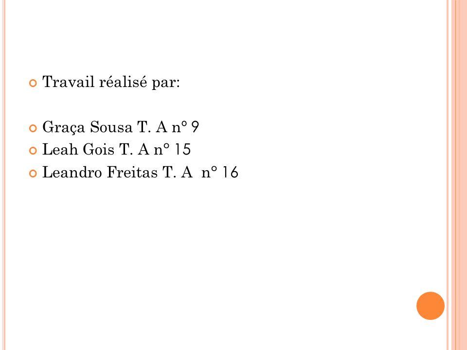 Travail réalisé par: Graça Sousa T. A n º 9 Leah Gois T. A n ° 15 Leandro Freitas T. A n ° 16