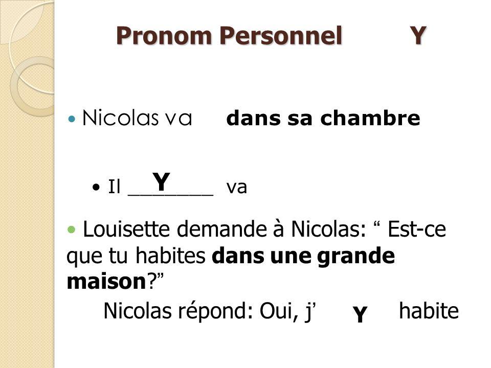 Peut semployer comme un adverbe pour remplacer des noms de lieu (there) Les noms de lieux sont introduits par les prépositions suivantes : Pronom Pers