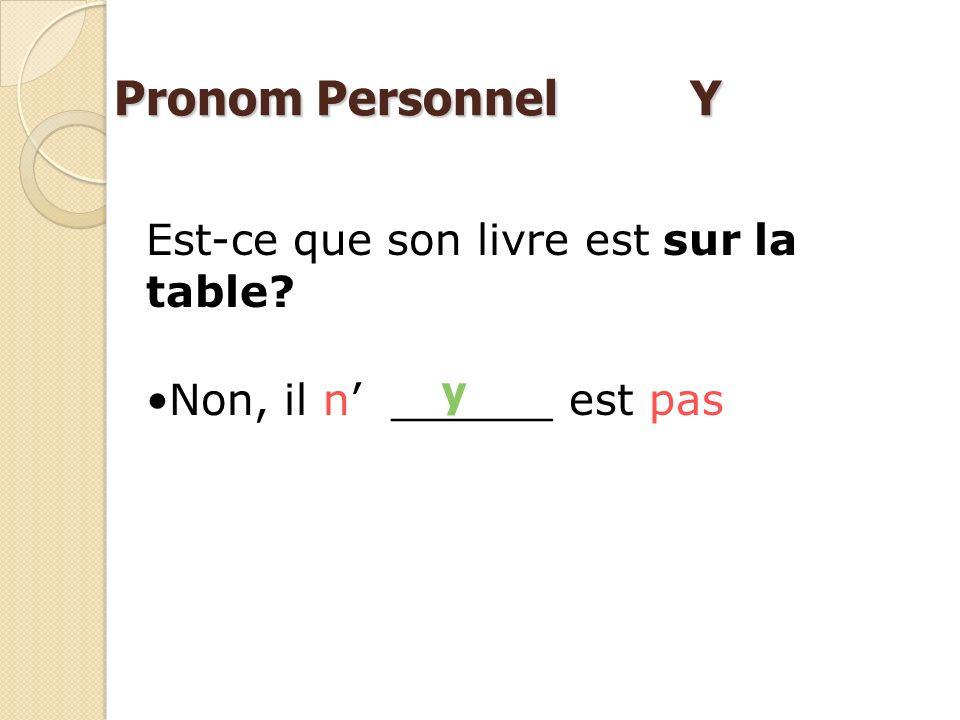 Nicolas habite Il _______ habite Y à Paris Pronom Personnel Y Lours en peluche se trouve sous le lit Il s trouve. Y