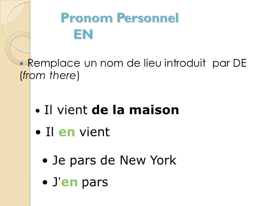ATTENTION Pronom Personnel Y À + Noms de personnes = Pronoms dobjet indirect Lui-leur