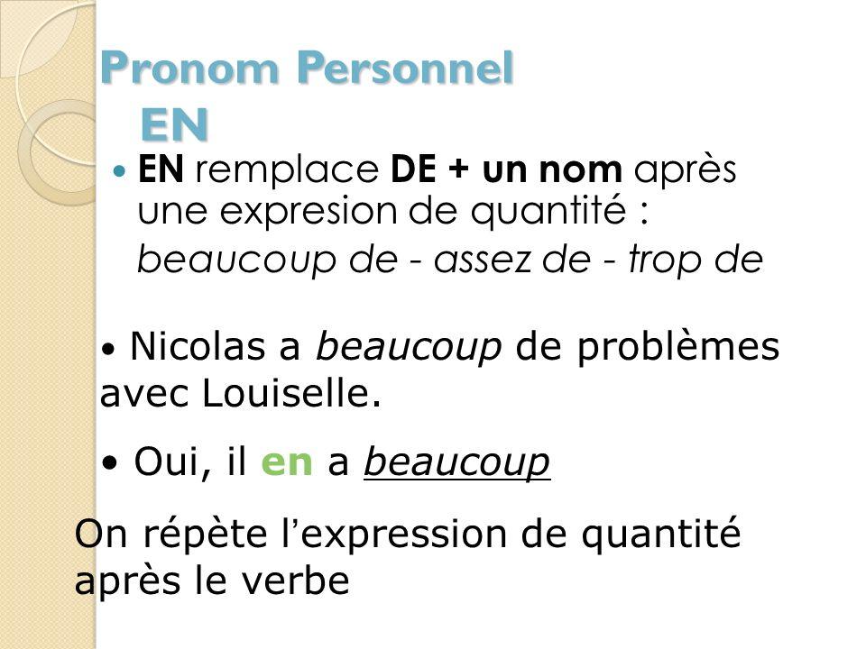 Pronom Personnel EN EN remplace un nom introduit par un article indéfini UN - UNE As-tu un frère/ sœur? Oui, j _____ aienun / une