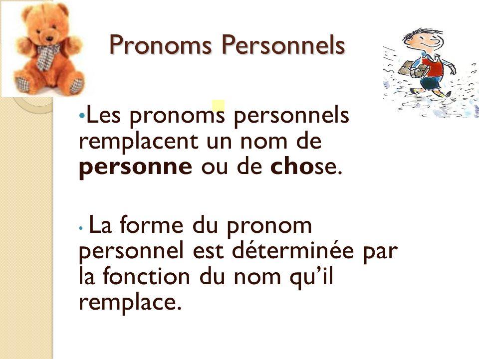 Pronoms Personnels Les pronoms personnels remplacent un nom de personne ou de chose.