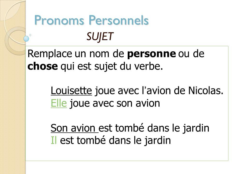 Pronoms Personnels SUJET Remplace un nom de personne ou de chose qui est sujet du verbe.