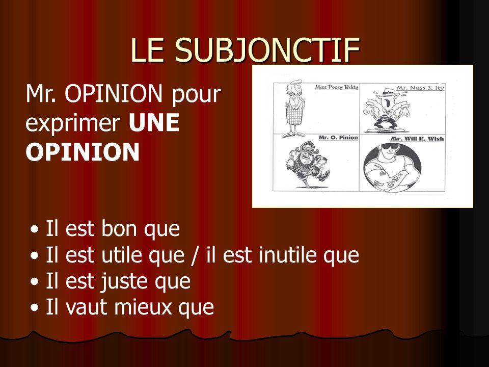 LE SUBJONCTIF Pratique orale: Conseil de Madame Grébert Il est indispensable/ ………… que vous …… Mr. NESS S. ITY pour exprimer LA NÉCESSITÉ