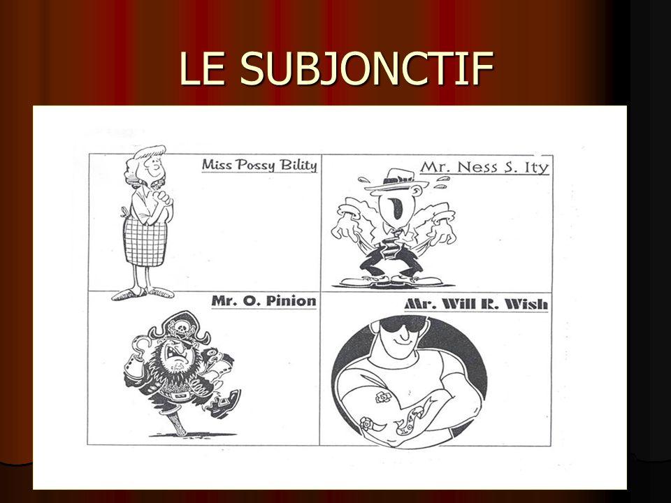 LE SUBJONCTIF DÉCOUVRONS LES CONDUCTEURS DU SUBJONCTIF