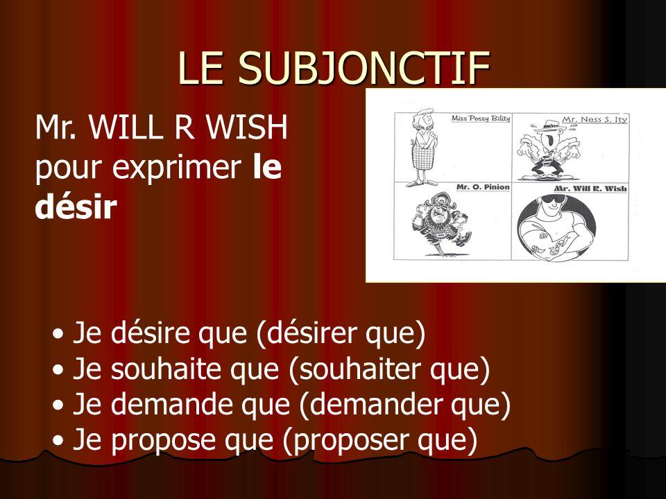 LE SUBJONCTIF Je désire que (désirer que) Je souhaite que (souhaiter que) Je demande que (demander que) Je propose que (proposer que) Mr.