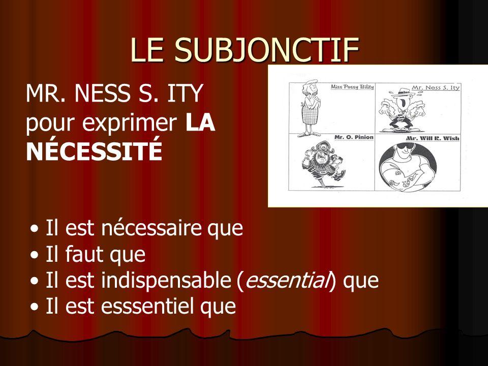 LE SUBJONCTIF Il est nécessaire que Il faut que Il est indispensable (essential) que Il est esssentiel que MR.