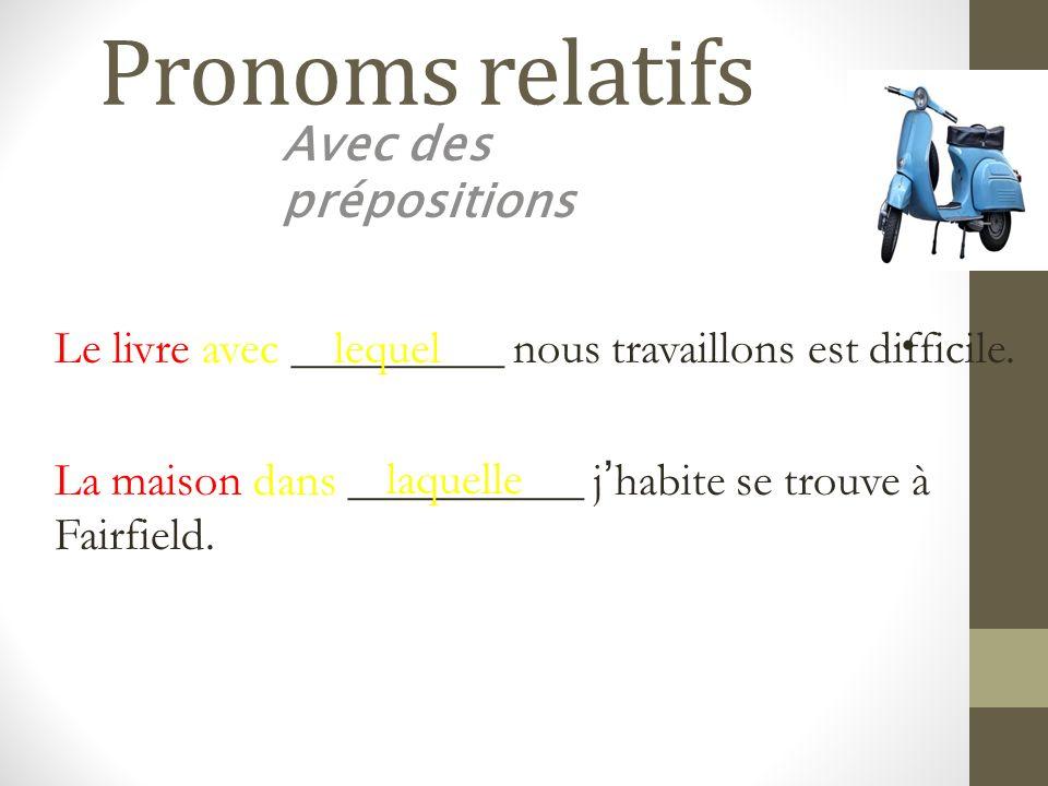 Pronoms relatifs Avec des prépositions Le livre avec _________ nous travaillons est difficile.lequel La maison dans __________ jhabite se trouve à Fai