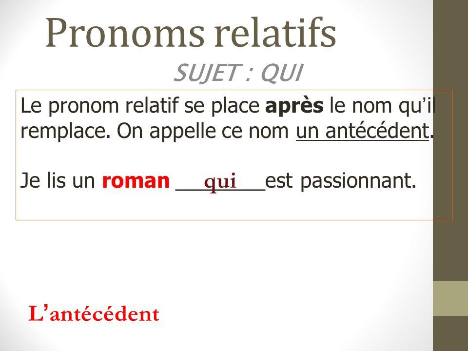Pronoms relatifs SUJET : QUI Le pronom relatif se place après le nom quil remplace. On appelle ce nom un antécédent. Je lis un roman ________est passi