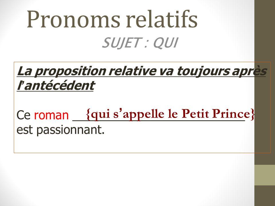 Pronoms relatifs Object Direct: QUE/whom-which-that Remplace un nom de personne ou de chose qui est complément dobjet direct.