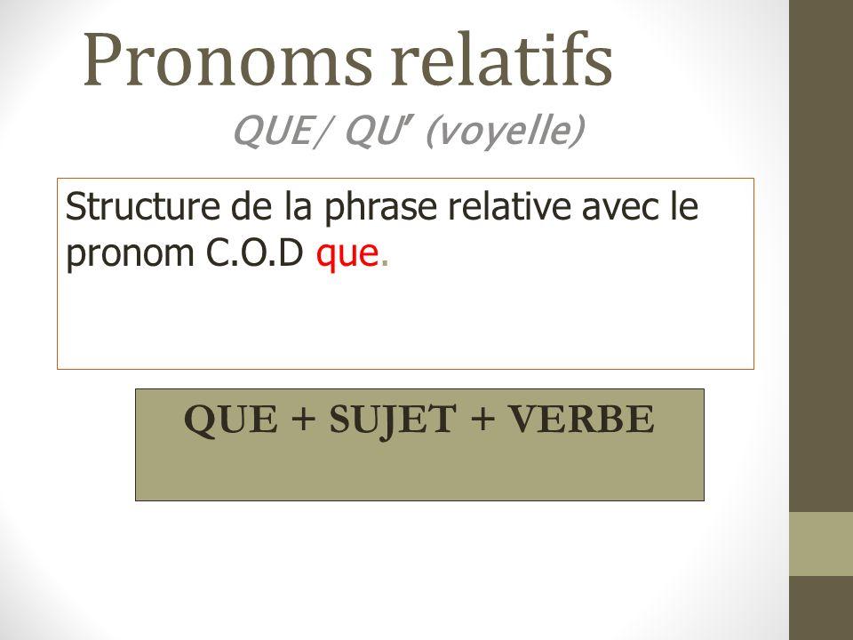Pronoms relatifs QUE/ QU (voyelle) Structure de la phrase relative avec le pronom C.O.D que. QUE + SUJET + VERBE