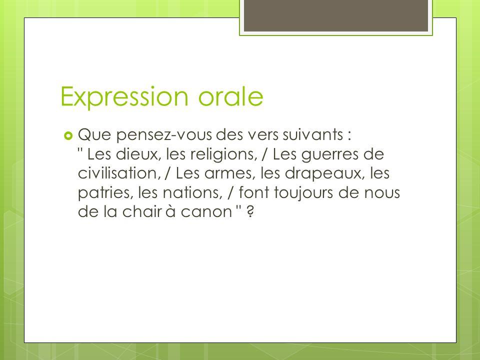 Expression orale Que pensez-vous des vers suivants :