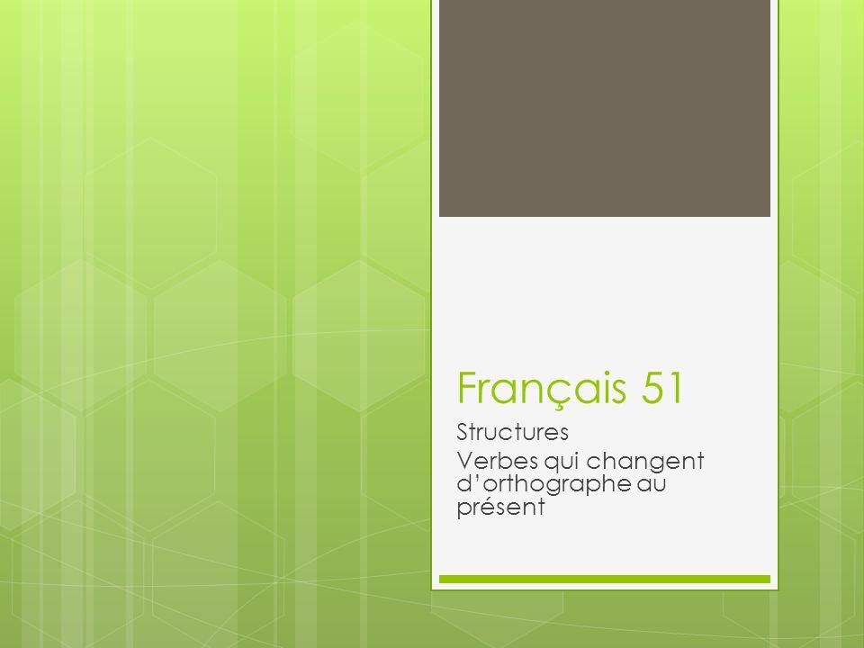 En français, il y a plusieurs verbes qui changent dorthographe au présent.