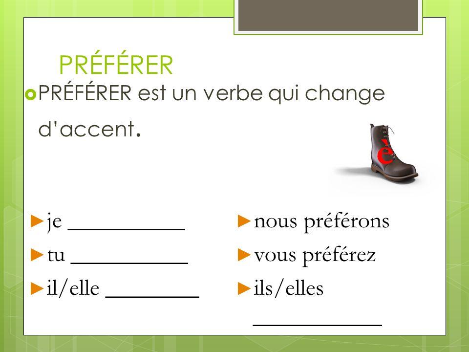 PRÉFÉRER PRÉFÉRER est un verbe qui change daccent. je __________ je __________ tu __________ tu __________ il/elle ________ il/elle ________ nous préf