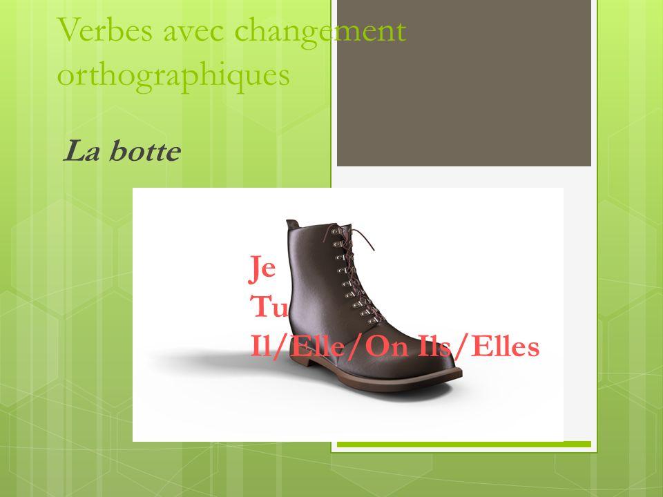 Verbes avec changement orthographiques La botte Je Tu Il/Elle/On Ils/Elles