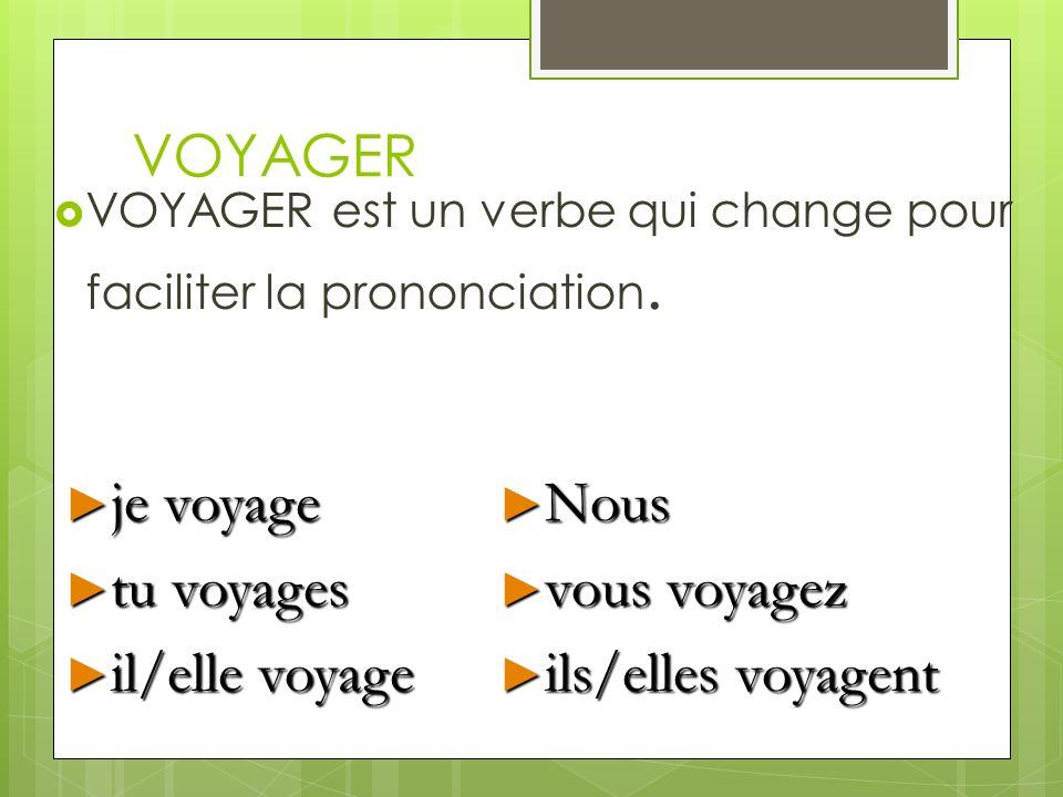 VOYAGER Des autres verbes comme VOYAGER sont: ____________________