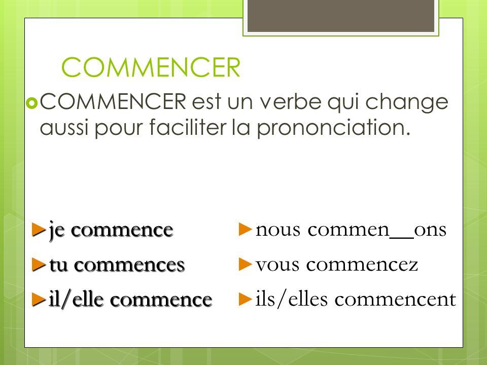 COMMENCER Des autres verbes comme COMMENCER sont: __________________