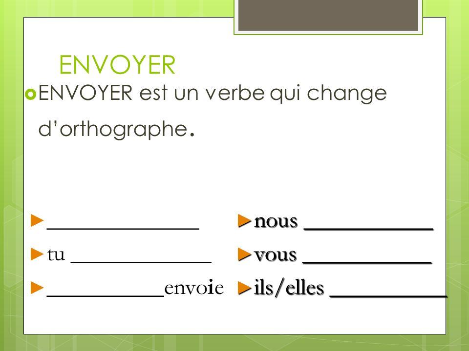 ENVOYER Des autres verbes comme ENVOYER sont: ennuyer essayer nettoyer payer