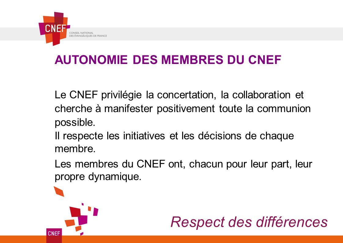 AUTONOMIE DES MEMBRES DU CNEF Respect des différences Le CNEF privilégie la concertation, la collaboration et cherche à manifester positivement toute