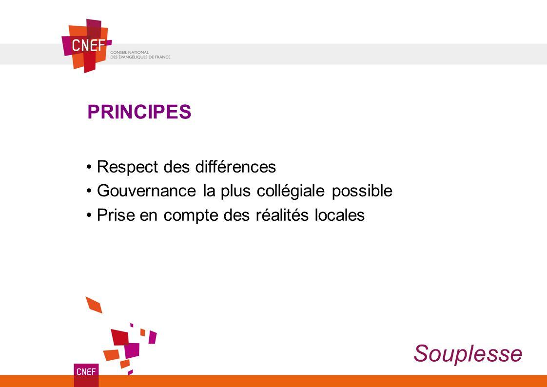 Respect des différences Gouvernance la plus collégiale possible Prise en compte des réalités locales PRINCIPES Souplesse