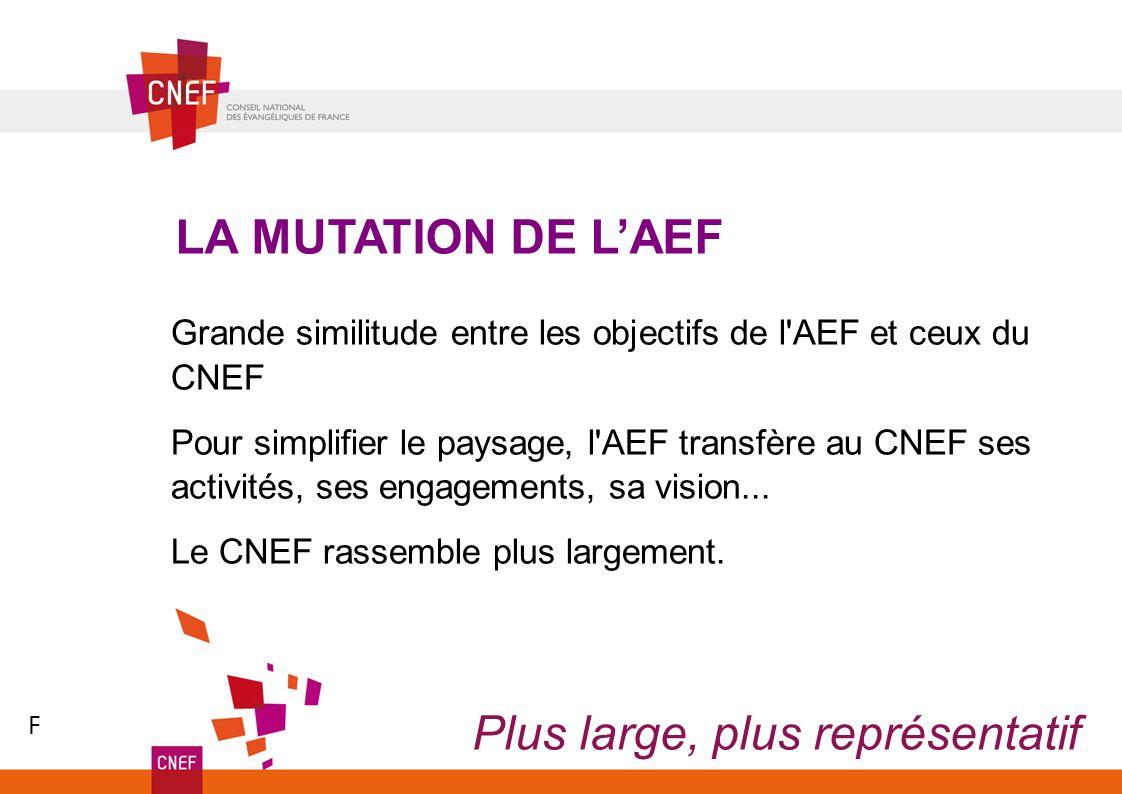 Grande similitude entre les objectifs de l'AEF et ceux du CNEF Pour simplifier le paysage, l'AEF transfère au CNEF ses activités, ses engagements, sa