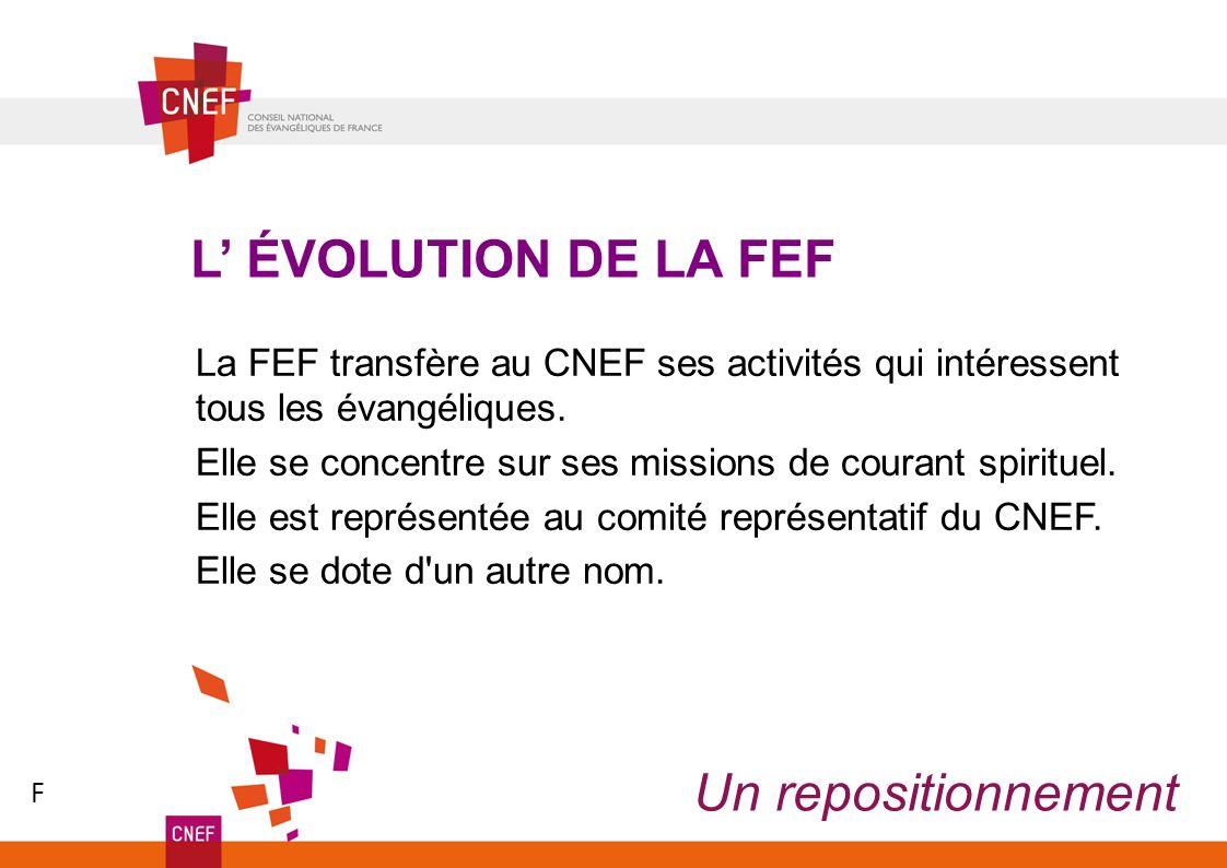Un repositionnement L ÉVOLUTION DE LA FEF La FEF transfère au CNEF ses activités qui intéressent tous les évangéliques. Elle se concentre sur ses miss
