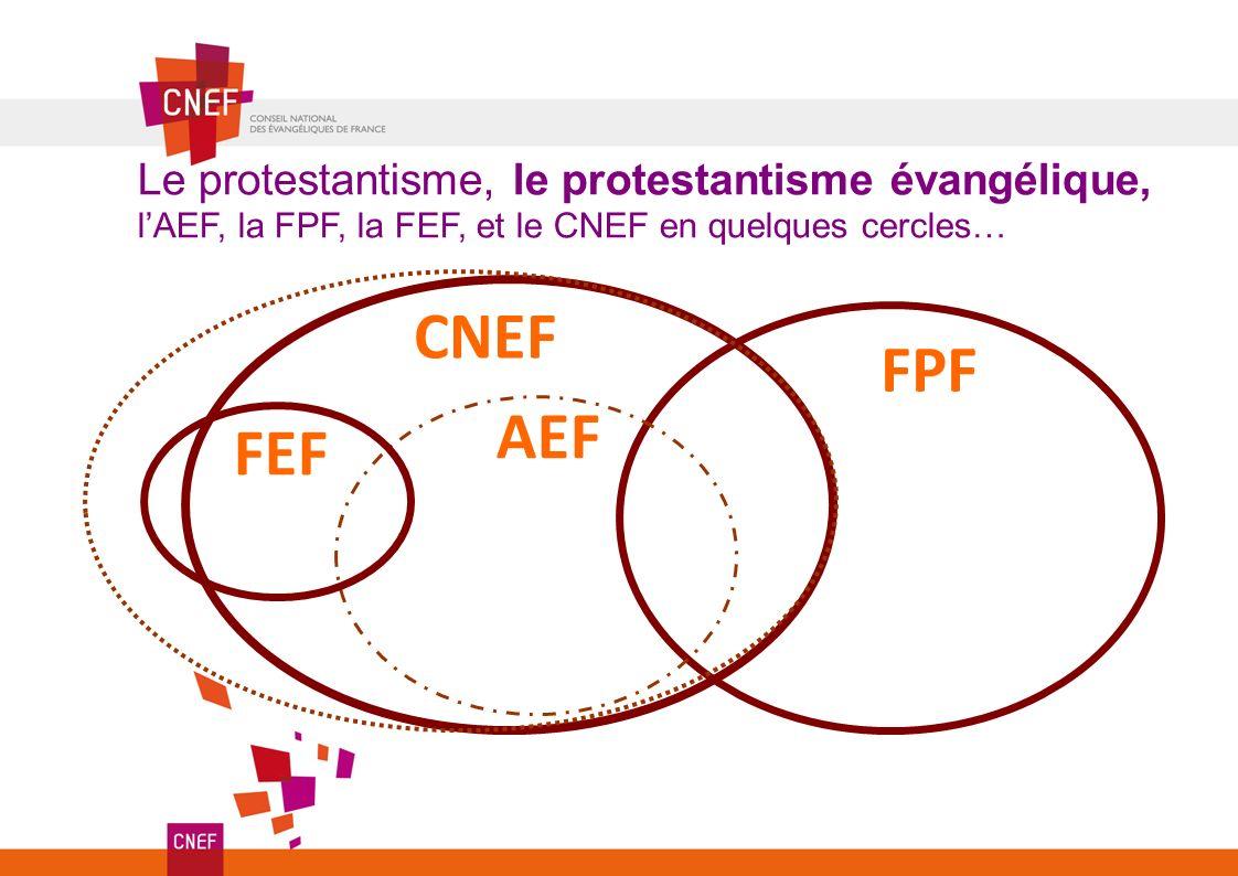 CNEF FPF Le protestantisme, le protestantisme évangélique, lAEF, la FPF, la FEF, et le CNEF en quelques cercles… FEF AEF