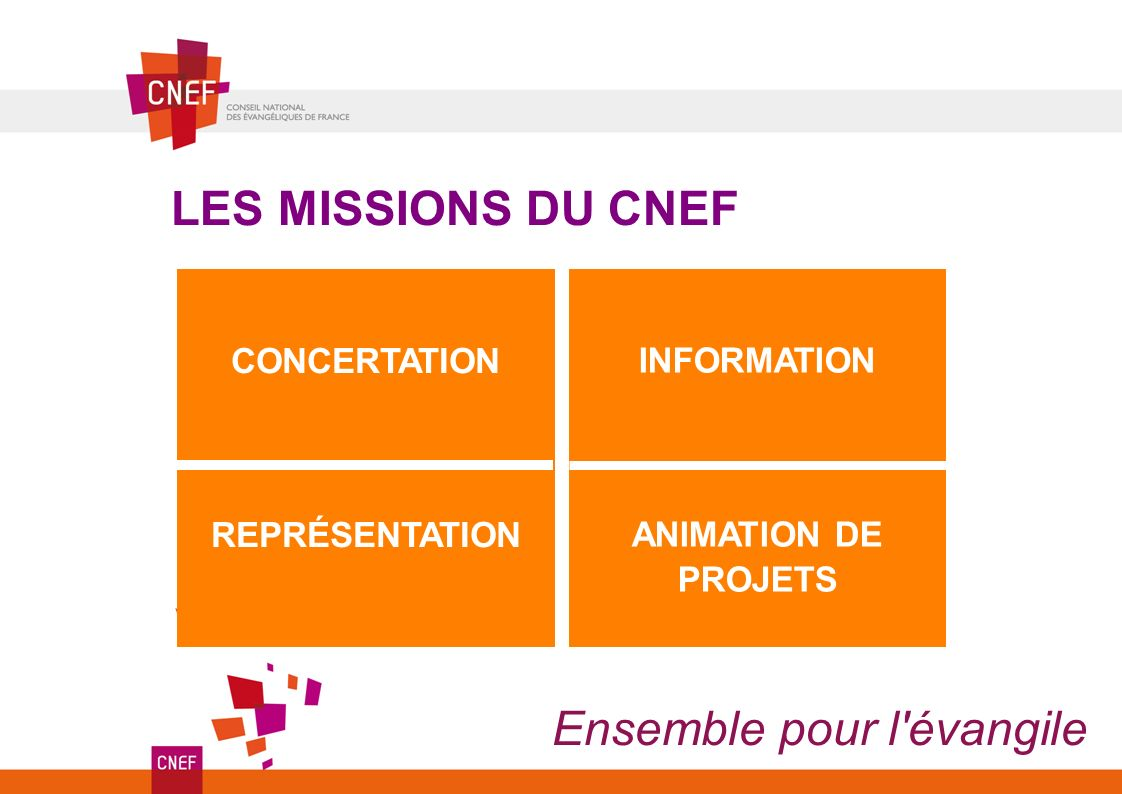 Ensemble pour l'évangile CONCERTATION REPRÉSENTATION LES MISSIONS DU CNEF INFORMATION ANIMATION DE PROJETS
