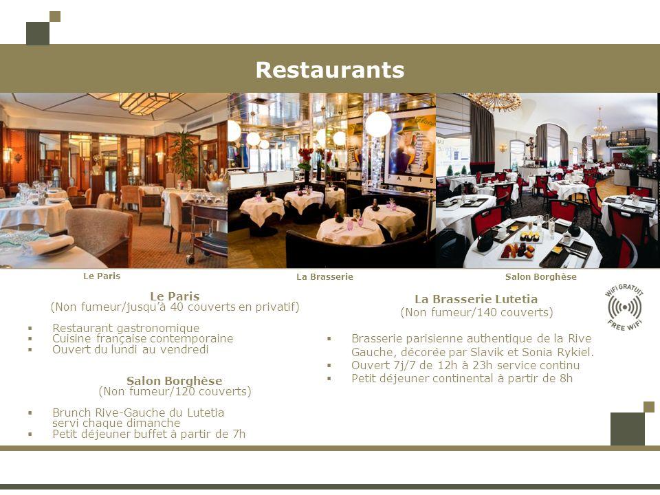 Restaurants Le Paris (Non fumeur/jusquà 40 couverts en privatif) Restaurant gastronomique Cuisine française contemporaine Ouvert du lundi au vendredi