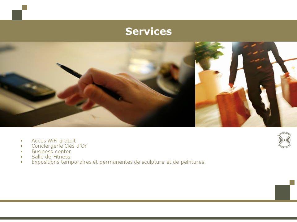 Services Accès WiFi gratuit Conciergerie Clés dOr Business center Salle de Fitness Expositions temporaires et permanentes de sculpture et de peintures
