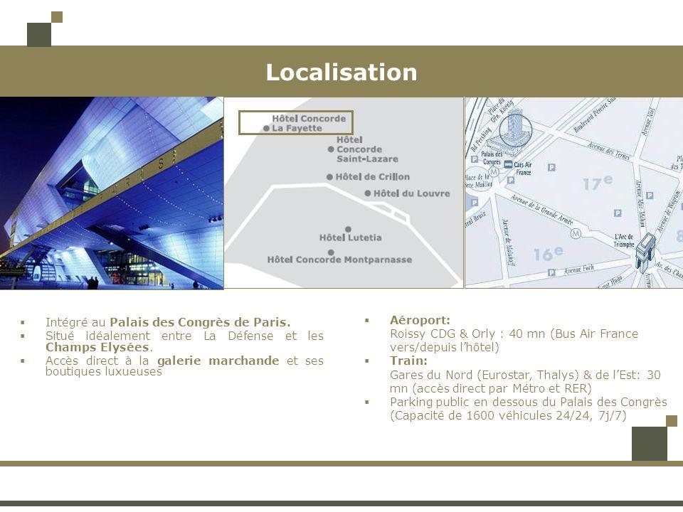 Hébergement 950 chambres & Suites, dont 250 situées dans les étages du Club La Fayette Services en chambre: Wifi gratuit, produit daccueil Annick Goutal, TV, Minibar, Air-conditionné, Coffre, Sèche cheveux Chambres Classiques Situées aux étages 9 à 24, avec de magnifiques vues sur Paris: quelques unes en direction de la Tour Eiffel Spacieuses, lumineuses, avec un décor élégant A partir de 22 m² 590 chambres Classiques Chambres Supérieures Situées aux étages 2 à 8 et 25 à 29, avec leur ascenseur privé Elégantes et modernes, bénéficiant dun décor luxueux et de large fenêtres offrant des vues magnifiques sur la ville de Paris A partir de 22 m² 262 chambres Supérieures Chambre Classique Chambre Supérieure RénovéeChambre Classique