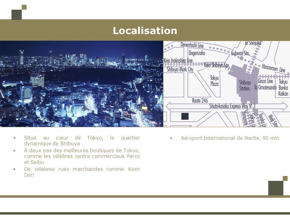 Localisation Situé au cœur de Tokyo, le quartier dynamique de Shibuya À deux pas des meilleures boutiques de Tokyo, comme les célèbres centre commerci