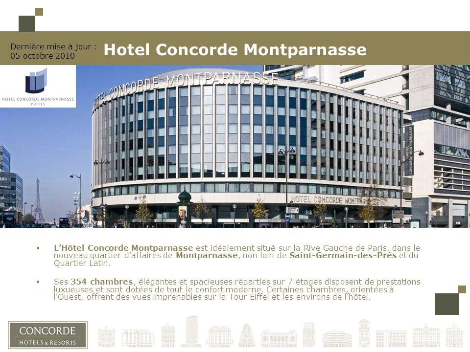 LHôtel Concorde Montparnasse est idéalement situé sur la Rive Gauche de Paris, dans le nouveau quartier daffaires de Montparnasse, non loin de Saint-Germain-des-Prés et du Quartier Latin.