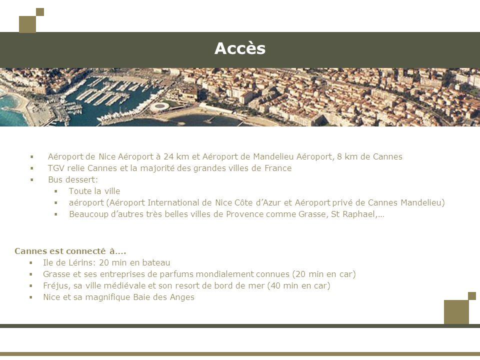 Accès Aéroport de Nice Aéroport à 24 km et Aéroport de Mandelieu Aéroport, 8 km de Cannes TGV relie Cannes et la majorité des grandes villes de France