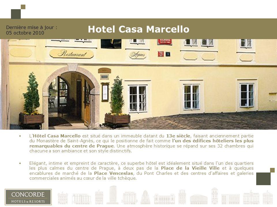 LHôtel Casa Marcello est situé dans un immeuble datant du 13e siècle, faisant anciennement partie du Monastère de Saint-Agnès, ce qui le positionne de fait comme lun des édifices hôteliers les plus remarquables du centre de Prague.