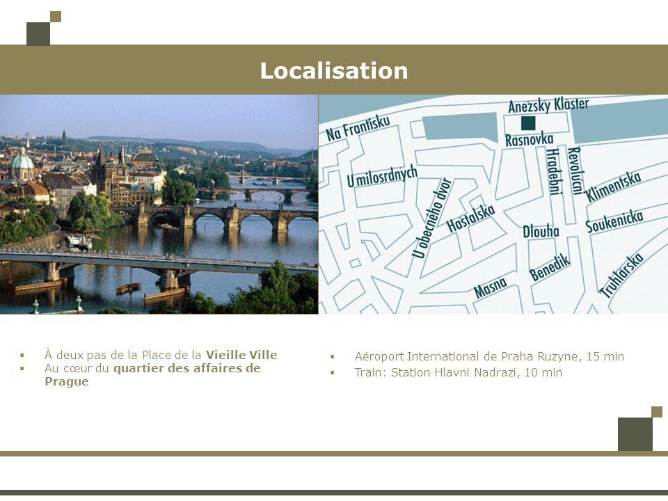 Localisation À deux pas de la Place de la Vieille Ville Au cœur du quartier des affaires de Prague Aéroport International de Praha Ruzyne, 15 min Trai