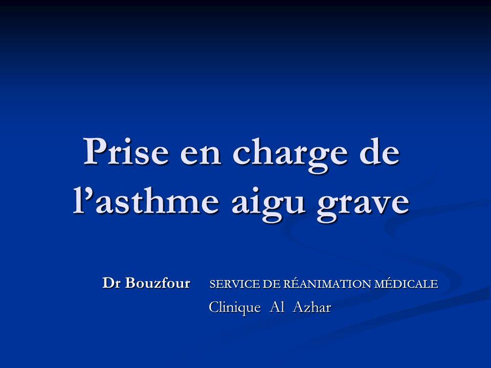 Prise en charge de lasthme aigu grave Dr Bouzfour SERVICE DE RÉANIMATION MÉDICALE Clinique Al Azhar