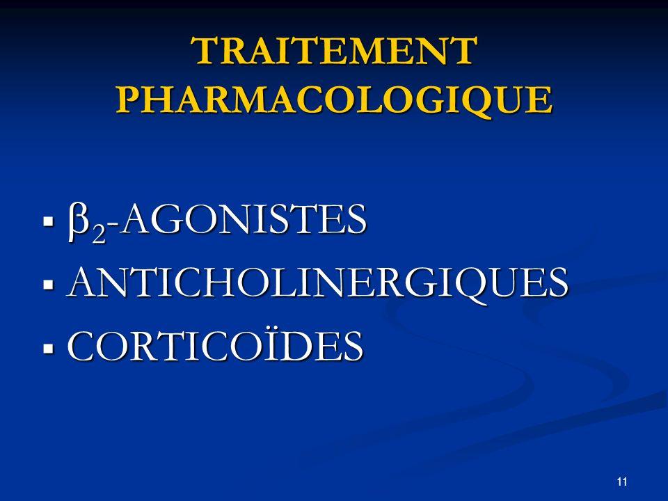 11 TRAITEMENT PHARMACOLOGIQUE 2 -AGONISTES 2 -AGONISTES ANTICHOLINERGIQUES ANTICHOLINERGIQUES CORTICOÏDES CORTICOÏDES