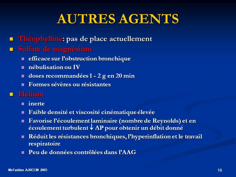 16 AUTRES AGENTS Théophylline: pas de place actuellement Théophylline: pas de place actuellement Sulfate de magnésium Sulfate de magnésium efficace su