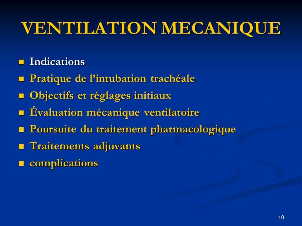 18 VENTILATION MECANIQUE Indications Indications Pratique de lintubation trachéale Pratique de lintubation trachéale Objectifs et réglages initiaux Ob