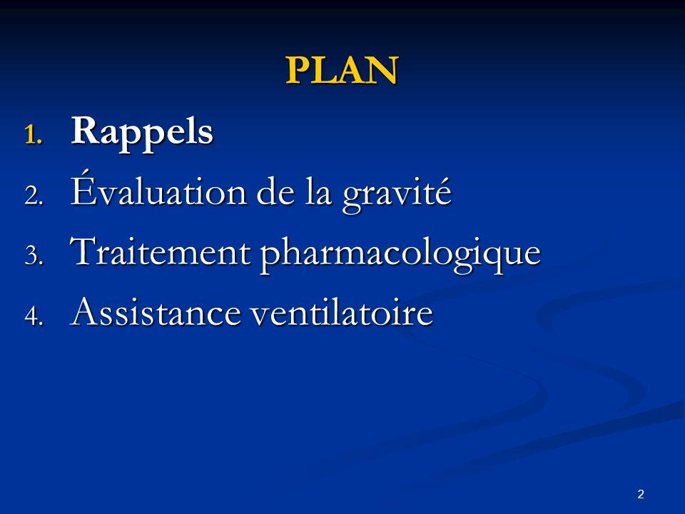 2 PLAN 1. Rappels 2. Évaluation de la gravité 3. Traitement pharmacologique 4. Assistance ventilatoire