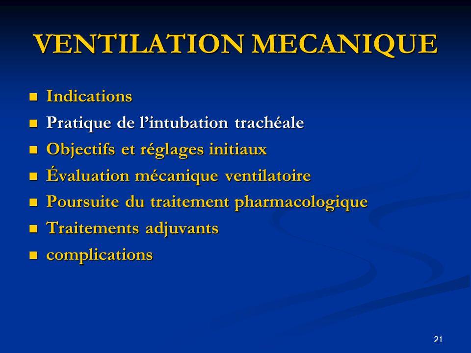 21 VENTILATION MECANIQUE Indications Indications Pratique de lintubation trachéale Pratique de lintubation trachéale Objectifs et réglages initiaux Ob