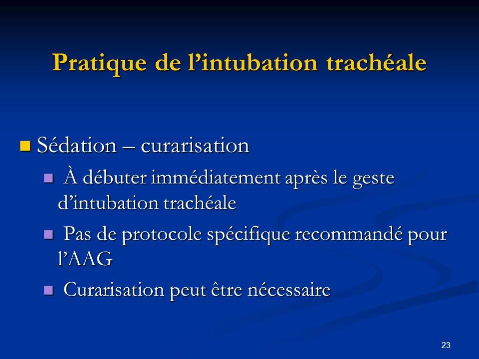 23 Pratique de lintubation trachéale Sédation – curarisation Sédation – curarisation À débuter immédiatement après le geste dintubation trachéale À dé