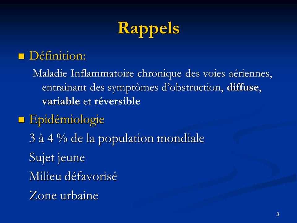 3 Rappels Définition: Définition: Maladie Inflammatoire chronique des voies aériennes, entrainant des symptômes dobstruction, diffuse, variable et Mal